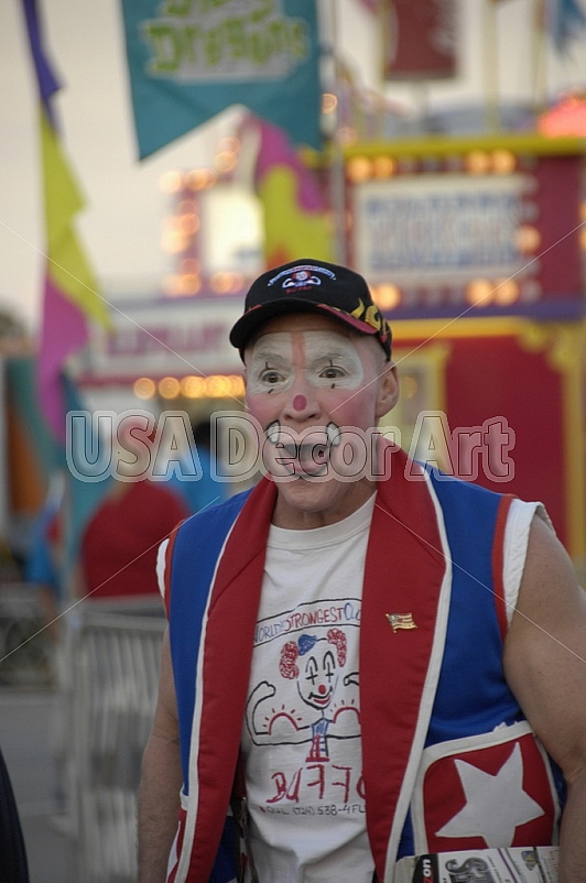 carnival, circus, close, clown, costume, eye, fair, grin, guy, happy, hat, isolated, lighting, lips, magic, magician, make, male, man, nose, posed, red, white, close-up, smile, expression, lights, ticket, blue, black, yellow, pink, purple, shirt, rid